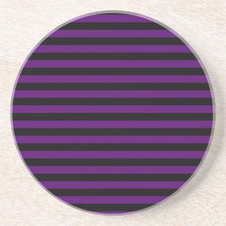 Thin Stripes - Black and Dark Violet Coaster
