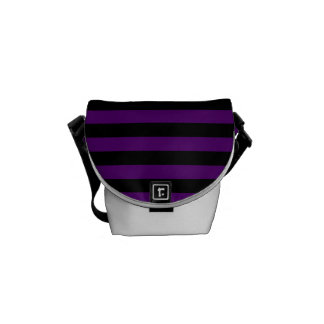 Thin Stripes - Black and Dark Violet Courier Bags