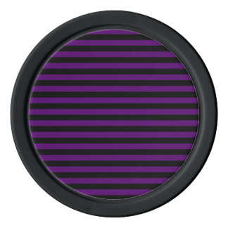 Thin Stripes - Black and Dark Violet Poker Chips