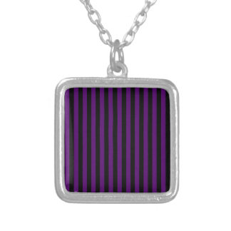 Thin Stripes - Black and Dark Violet Silver Plated Necklace