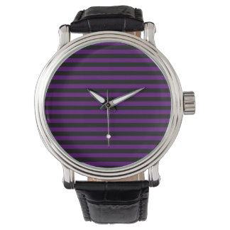 Thin Stripes - Black and Dark Violet Watch