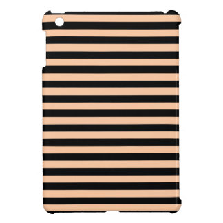 Thin Stripes - Black and Deep Peach iPad Mini Cases