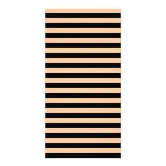 Thin Stripes - Black and Deep Peach Photo Card