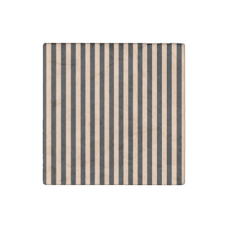 Thin Stripes - Black and Deep Peach Stone Magnet