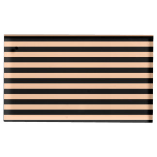 Thin Stripes - Black and Deep Peach Table Card Holders