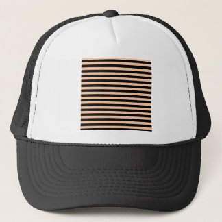 Thin Stripes - Black and Deep Peach Trucker Hat
