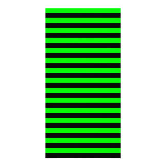 Thin Stripes - Black and Electric Green Customised Photo Card