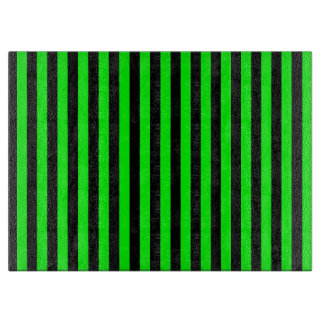 Thin Stripes - Black and Electric Green Cutting Board
