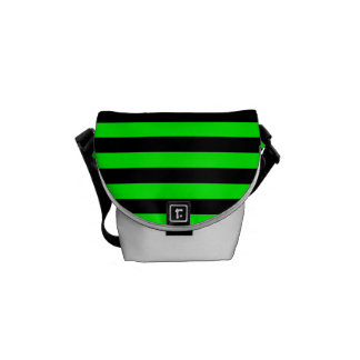 Thin Stripes - Black and Electric Green Messenger Bag