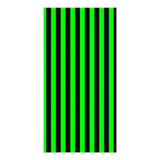 Thin Stripes - Black and Electric Green Personalised Photo Card