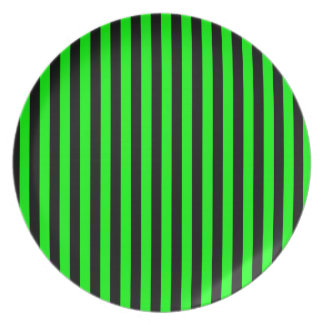 Thin Stripes - Black and Electric Green Plate