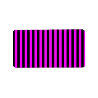 Thin Stripes - Black and Fuchsia Address Label