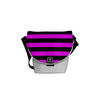 Thin Stripes - Black and Fuchsia Commuter Bags