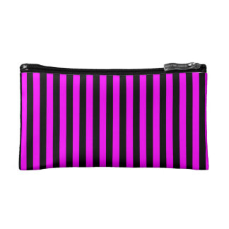 Thin Stripes - Black and Fuchsia Makeup Bag