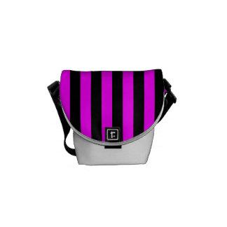 Thin Stripes - Black and Fuchsia Messenger Bag
