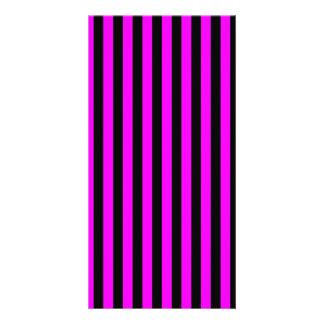 Thin Stripes - Black and Fuchsia Personalized Photo Card