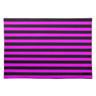 Thin Stripes - Black and Fuchsia Placemat