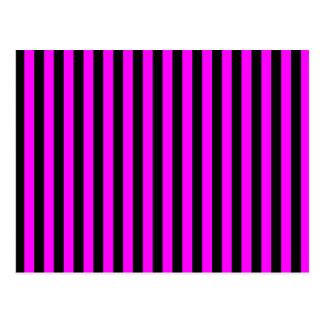 Thin Stripes - Black and Fuchsia Postcard