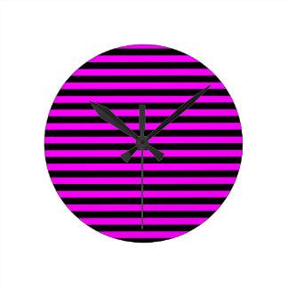 Thin Stripes - Black and Fuchsia Round Clock