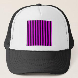 Thin Stripes - Black and Fuchsia Trucker Hat