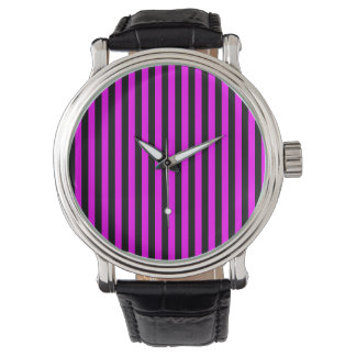 Thin Stripes - Black and Fuchsia Watch
