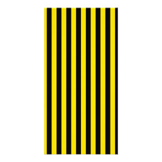 Thin Stripes - Black and Golden Yellow Personalised Photo Card