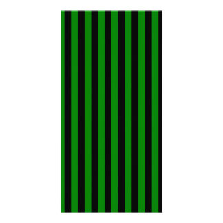 Thin Stripes - Black and Green Personalized Photo Card