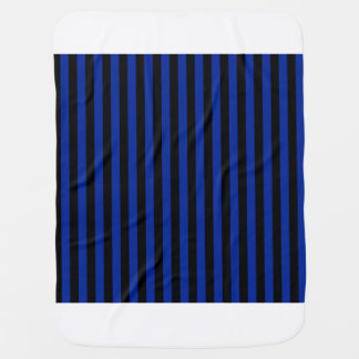 Thin Stripes - Black and Imperial Blue Baby Blanket