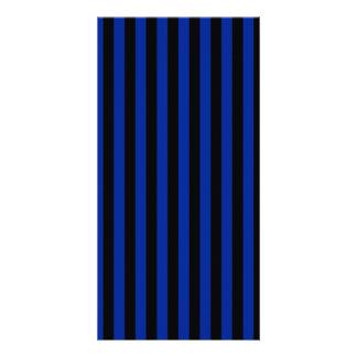 Thin Stripes - Black and Imperial Blue Custom Photo Card