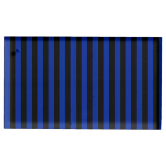 Thin Stripes - Black and Imperial Blue Place Card Holder