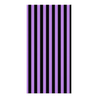 Thin Stripes - Black and Lavender Personalised Photo Card