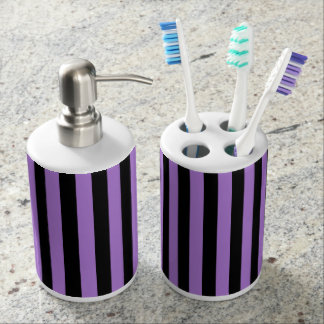 Thin Stripes - Black and Lavender Soap Dispenser And Toothbrush Holder