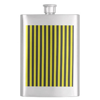 Thin Stripes - Black and Lemon Hip Flask