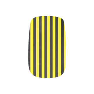 Thin Stripes - Black and Lemon Minx Nail Art