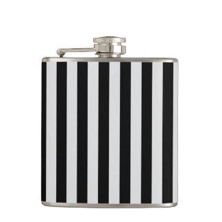 Thin Stripes - Black and Light Gray Hip Flask