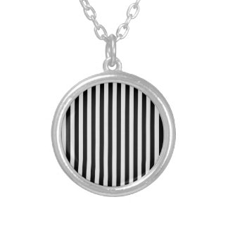 Thin Stripes - Black and Light Gray Silver Plated Necklace