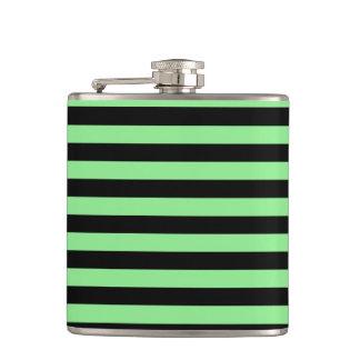 Thin Stripes - Black and Light Green Hip Flask