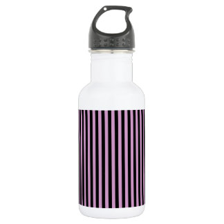 Thin Stripes - Black and Light Medium Orchid 532 Ml Water Bottle