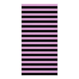 Thin Stripes - Black and Light Medium Orchid Customised Photo Card