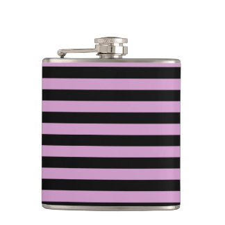 Thin Stripes - Black and Light Medium Orchid Flask