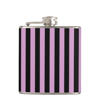 Thin Stripes - Black and Light Medium Orchid Flasks
