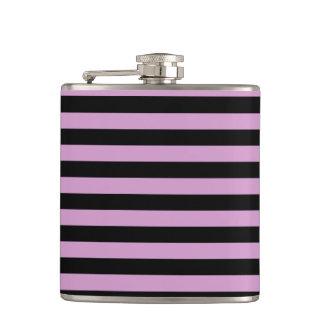 Thin Stripes - Black and Light Medium Orchid Hip Flask