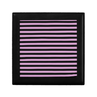 Thin Stripes - Black and Light Medium Orchid Small Square Gift Box