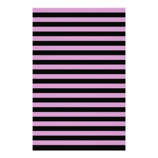 Thin Stripes - Black and Light Medium Orchid Stationery