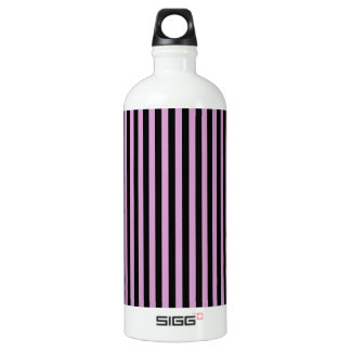 Thin Stripes - Black and Light Medium Orchid Water Bottle