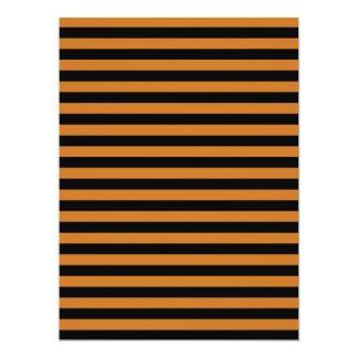 Thin Stripes - Black and Ochre 17 Cm X 22 Cm Invitation Card