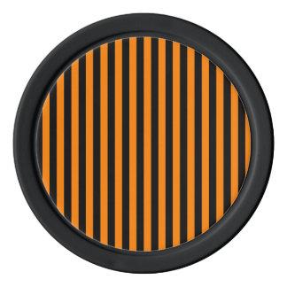 Thin Stripes - Black and Orange Poker Chips