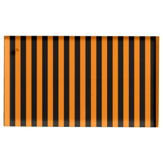 Thin Stripes - Black and Orange Table Card Holders