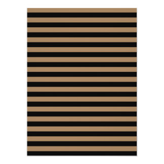 Thin Stripes - Black and Pale Brown 17 Cm X 22 Cm Invitation Card