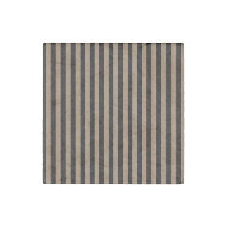 Thin Stripes - Black and Pale Brown Stone Magnet